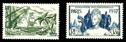 N°28b/32a, 30c Vert, Nom Du Territoire En Bas Et 1f50 Bleu Sans Le Nom Du Territoire. TB  Qualité: *  Cote: 160 Euros - A.E.F. (1936-1958)