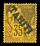 N°16, 35c Violet-noir Sur Jaune Surchargé 'TAHITI' (tirage 150 Exemplaires), Très Bon Centrage. SUP. R. (signé Calves/ce - Oblitérés
