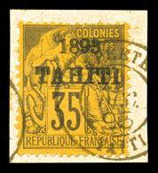 N°28, 35c Violet-noir Sur Jaune Surchargé '1893 Tahiti' Sur Son Support. SUP. R. (signé Bernichon/Calves/certificat)  Qu - Oblitérés