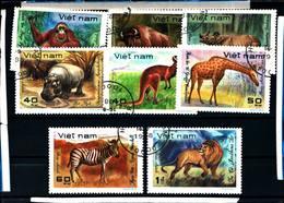 6429b)  FLEUR Vietnam 8 Val ANIMALI-FAUNA DELL'AFRICA  -SERIE  -USATA - Vietnam