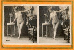 CPA - Photo érotique-stéreoscopique Femme Nue, Et Pose Suggestive Du Début Du Siècle - Fotografie