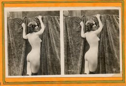 CPA - Photo érotique-stéreoscopique De Femme Nue, Et Pose Suggestive Du Début Du Siècle - Fotografie