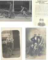 3 Cartes-photo : L . Aubert, Stayer ( + Coupure De Journal )   ( SPO ) - Cyclisme