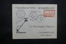 ALGÉRIE - Enveloppe 1er Vol Alger / Colomb Béchar En 1952 , Affranchissement Plaisant - L 37456 - Algeria (1924-1962)