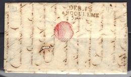 Angoulême (Charente) : DEB.15/ANGOULEME En Rouge Sur LAC De Bordeaux Signée Baudot, Indice 22 (700 €), 1814. - Marcophilie (Lettres)
