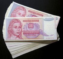 Yugoslavia BUNDLE LOT 100 Notes Billion Dinara P-126 1993 HYPERINFLATION (F-XF) - Jugoslavia
