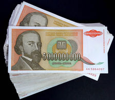 Yugoslavia BUNDLE LOT 100 Notes 5 Billion Dinara P135 1993 HYPERINFLATION VF-XF - Jugoslavia