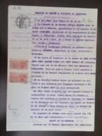 Timbres Fiscaux Copies 2f Perforés AM Sur Document Juridique Sur Papier Timbré - 1921 - Fiscaux