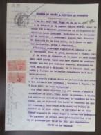 2 Timbres Fiscaux (Copies 2 Francs Perforés AM) Sur Document Juridique - 1921 - Fiscaux
