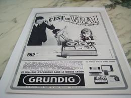 ANCIENNE PUBLICITE UN VRAI MAGNETOPHONE  GRUNDIG 1967 - Musique & Instruments