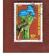 BENIN  - SG 760  -      1979  ENDANGERED ANIMALS: GIRAFFES   - USED ° - Benin – Dahomey (1960-...)