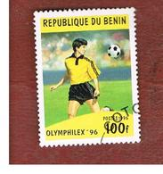 BENIN  - SG 1403  - 1996  OLYMPHILEX '96, STAMP EXN.: FOOTBALL   - USED ° - Benin – Dahomey (1960-...)