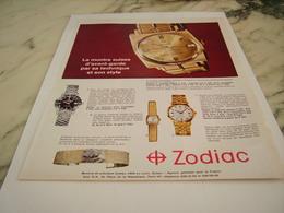 ANCIENNE PUBLICITE  MONTRE SUISSE ZODIAC 1967 - Bijoux & Horlogerie