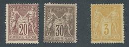 CZ-195: FRANCE:lot Avec  N°67 NSG-69 Nsg +86 NSG Tous 2ème Choix - 1876-1878 Sage (Type I)