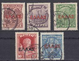 CRETA - 1910/1911 - Lotto Di 5 Valori Usati: Yvert 76/79 E 81. - Crete