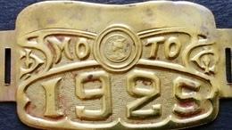 MOTO PLAQUE FISCALE CUIVRE ART NOUVEAU 1925 - Motos