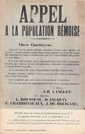 REIMS - APPEL à La Population Rémoise - Affiche Apposée Sur Les Murs De La Ville Pendant L'occupation - Reims