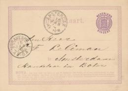 Nederland - 1874 - 2,5 Cent Wapen, Briefkaart G4 Van Den Haag Naar Amsterdam - Ganzsachen