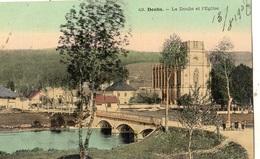 DOUBS LE DOUBS ET L'EGLISE (CARTE TOILE ET COLORISEE) - France