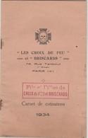 """Carnet Cotisations 1934 / """"Les Croix De Feu Et Briscards"""" / Non Utilisé / 5 Pages Doubles / Tampon Sur Chaque Page - Documenten"""