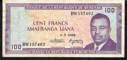 BURUNDI P29b 100 FRANCS  1982 #BW     AVF - Burundi