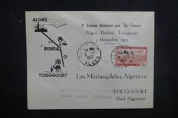 ALGÉRIE - Enveloppe 1er Vol Alger / Biskra / Toggourt En 1952, Affranchissement Plaisant - L 37506 - Algeria (1924-1962)