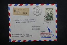 ALGÉRIE - Enveloppe 1er Vol Alger / Biskra / Toggourt En 1952, Affranchissement Plaisant - L 37507 - Algeria (1924-1962)