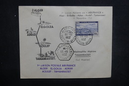 ALGÉRIE - Enveloppe 1er Vol Alger / Tamanrasset Avec Escales En 1952, Affranchissement Plaisant - L 37508 - Algeria (1924-1962)