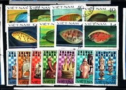 6438B) LOTTO DI FRANCOBOLLI DEL Vietnam Gioco Dei Scacchi E Pesci -SERIE  -USATE - Vietnam