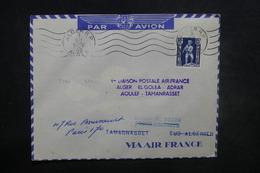 ALGÉRIE - Enveloppe 1er Vol Alger / Tamanrasset Avec Escales En 1952, Affranchissement Plaisant - L 37509 - Algeria (1924-1962)