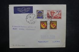 ALGÉRIE - Enveloppe 1er Vol Alger / Biskra / Touggourt En 1952, Affranchissement Plaisant - L 37510 - Algeria (1924-1962)