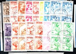 6440B) Vietnam 1984 Mi. 1529-1543 - Animali E Piante Flora  -SERIE IN QUARTINE  -USATE - Vietnam