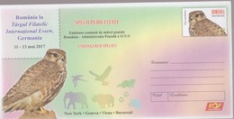ROMANIA -2017 -FALCON - Endangered Species- Joint Issue Romania -United Nations - Cover Stationery(code 0112/2017) - Emisiones Comunes