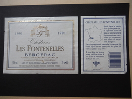 Bergerac Château Les Fontenelles 1991 - Viticulteurs Réunis à Sigoulès - Bergerac