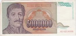 Yugoslavia 5000000 5.000.000 Dinara 1993 (9) P-132 /010B/ - Jugoslawien