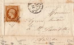 Lettre 1856 Marcols Les Eaux Saint Pierreville Ardèche Timbre Napoléon III 10 Centimes - 1853-1860 Napoleon III