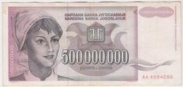 Yugoslavia 500000000 500.000.000 Dinara 1993 (5) P-125 /010B/ - Jugoslawien