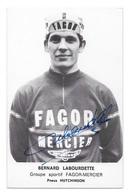 CARTE CYCLISME BERNARD LABOURDETTE SIGNEE TEAM FAGOR - MERCIER 1970 - Ciclismo