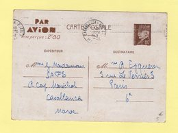 Entier Type Petain - Casablanca - Par Avion Surtaxe Aerienne Percue 2f80 - 1942 - Maroc (1891-1956)