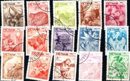 6441B) Vietnam 1984 Mi. 1529-1543 - Animali E Piante Flora  -SERIE  -USATA - Vietnam