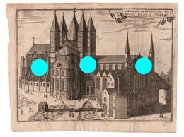 GRAVURE  De Harrewyn Eglise Cathédrale De Notre Dame à TOURNAI Gravure Originale Vers 1750  RARE - Documents Historiques