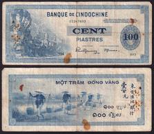 French Indochina 100 Piastres 1945 F/VF - Indochina