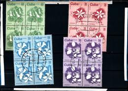 6442B) CUBA 1983 -  FIORI N°2474/77  -SERIE  IN QUARTINA-USATA - Cuba