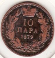 Serbie 10 Para 1879 . Milan Obrenovic IV . Bronze.  KM# 8 - Serbia