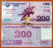 North Korea DPRK 200 Won 2018 UNC Specimen. The 70th Anniversary Of The DPRK (1948-2018) - Korea (Nord-)