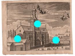 GRAVURE   Eglise De Notre Dame à TIENEN TIRLEMONT  Gravure Originale Vers 1750  RARE - Documents Historiques