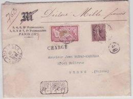 Lettre France 1908 Merson 1f Perfor� + 20c Semeuse Lign�e Le Monde Poissonniere Paris Pour Bunau-Varilla Hotel Bellevue - 1877-1920: Periodo Semi Moderno