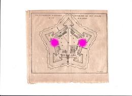 Antwerpen Anvers Gravure De Xarrewyn Ancien Plan De La Citadelle  Gravure Originale Vers 1750  RARE - Documents Historiques