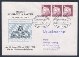 Deutschland Germany 1976 Brief Cover - 125 Jahre Bahnpost In Bayern - 1851 - 1976 - ZUG 05746 Bahnpost Nürnberg - Hof - Treinen