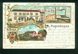 AK Litho HAGONDANGE, Hagendingen, Bahnhof Usw, Gel. 1903? - Hagondange